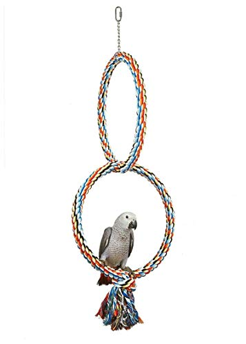 HYwot Bird Swing Perch Cotton Rope Ring Toy Rainbow Cage Perch Stand for Parrot Budgie Parakeet Cockatiel Conure Lovebird Caique Lorikeet Finch Canary Cockatoo