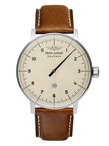 Iron Annie Herrenuhr mit Lederband Serie Bauhaus 1 ETA Monotimer Einzeigeruhr Datum 5040-5