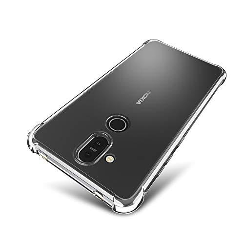 SLEO Custodia per Nokia 8.1 / X7 [Custodia Silicone Gel Protezione] Morbido TPU Ispessimento del Bordo [Trasparente Cristallo] Nokia 8.1 / X7 Cover - Trasparente