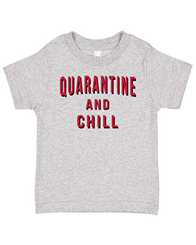 Ink Trendz Quarantine and Chill est. 2020 Funny Toddler Children's Tee T-Shirt (3T, Heather Grey)
