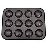 ZAK168, Teglia antiaderente per madeleine a 6 fori/12 fori, in acciaio al carbonio, stampi da forno a forma di conchiglia per tartine e dolcetti (12 fori)