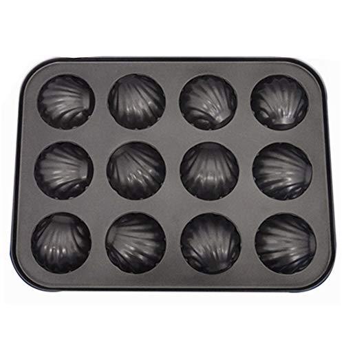YIAI Stampo in Acciaio al Carbonio a Forma di Conchiglia a Forma di Conchiglia Antiaderente tortiera tegami Neri Portatili Cucina Leggera(12 Fori)