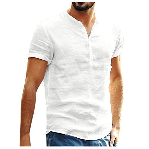 Yowablo Bluse Hawaiihemd Herren Kurzarm Hawaii-Print Baggy Baumwolle leinen einfarbig Kurzarm Retro t Shirts Tops (S,1Beige)