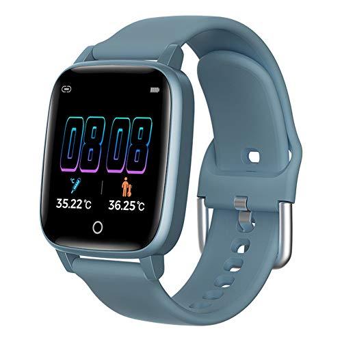 manda Stell Smartwatch für Herren und Damen, Smartwatch, Herzfrequenzmesser, Körpertemperaturmessung, IP67, wasserdicht, Smart-Armband für Android, 0, blau