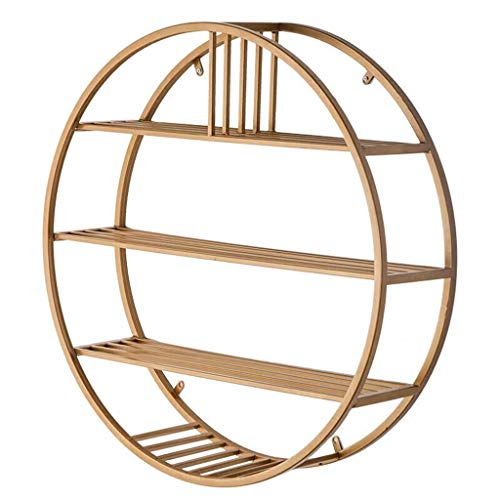 4- Tiers Round Wall Mounted Wine Bottle Racks Metal Iron Display Holder Home Large Storage Space Bookshelf for Living Room Bedroom (Gold)