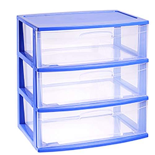 Plástic Forte - Cajonera Nilo de plástico 3 cajones de Color Azul 60 x 56 x 39.5 cm, Cajonera es tamaño Doble Folio Grande Transparente Multiusos Ideal para Empresas, oficinas y hogares, etc.