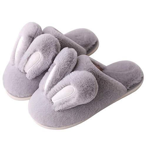 Pantofole Donna a Forma di Animali Scarpe da Casa Coniglio Grigie Peluche Pantofole Ragazza 36 38 40 Invernali