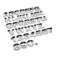 45mm3Dカーステッカーメタルアルファベットシルバーブラックバッジクローム文字番号ロゴカーステッカー