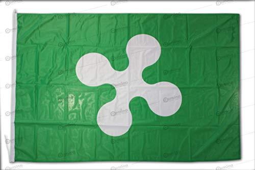 Bandiera Lombardia 150x100 cm in tessuto nautico antivento da 115g/m²,bandiera lombarda 150x100 lavabile,bandiera della Lombardia 150x100 con cordino,doppia cucitura perimetrale,fettuccia di rinforzo