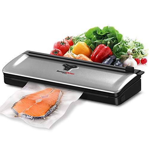Bonsenkitchen Vacuum Sealer, Automatic Food Saver Vacuum Sealer Machine for Food Preservation, Dry & Moist Food Modes, Easy to Clean, Built-in cutter, Compact Design Food Saver with Starter Kit