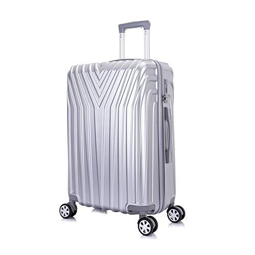 OM HOME Maleta De Viaje Mediana Equipaje De Viaje ABS+PC, Cerradura TSA Ligera Resistente (Silver, 24 Inch 67CM)
