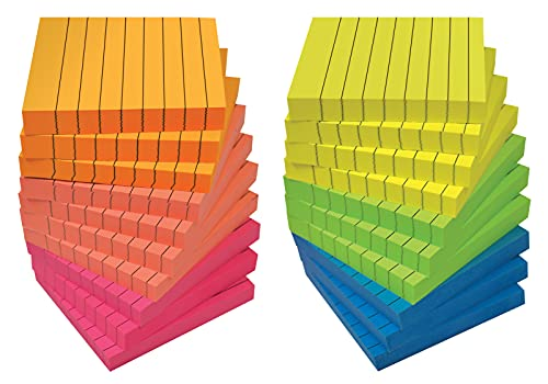 Lined Sticky Notes 3 x 3, 20 Pack Box, 2,000