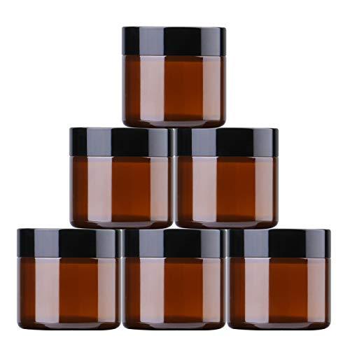 THETIS Pots en Verre Ronds 60ml (6 Pack) - Les récipients cosmétiques vides avec doublures intérieures, couvercles Noirs et Pots d'échantillon en