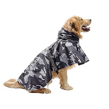 KoKoBin Manteau réfléchissant pour chiens avec capuche ultra léger et respirant, imperméable pour chiens de moyenne et grande taille (gris, XL)