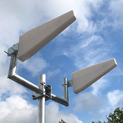woogmedia Externe Hochleistungs LTE Antenne (800MHz, 1800, 2600) 27dBi - inklusive Zwei 10Meter Antennenkabel SMA für z.B. Huawei B593/B390, Speedport LTE II, Speedport Hybrid etc.