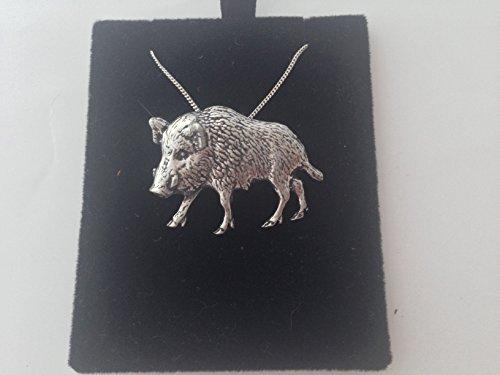 Wildschwein A65 2 Anhänger Echt 925 sterling Silber Halskette Kette prideindetails 40.64 cm, handgefertigt, mit Geschenk-box