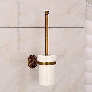 QiXian Toilet Brush Waste Bin Set Antique Copper Brush Complete Wc Wc Brush Ceramic Cup Antique Copper for Complete Treatment do Old Brass Material Ofscope of Bathroom Toilet Strong Sturdy