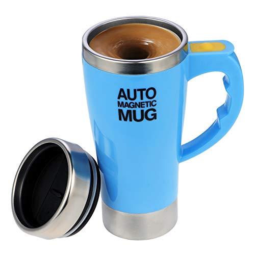 Elektrischer selbstrührender Kaffeebecher aus Edelstahl, automatische magnetische Tasse, Lebensmittelqualität, selbstmischende Tasse Kaffeetasse (Blau 450 ml)