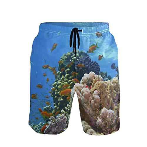 Emoya Herren Badeshort Blue Ocean Unterwasserfisch Koralle Reef Badeshorts mit Taschen Gr. XXL, Mehrfarbig