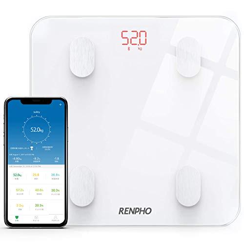 【進化版】RENPHO 体重・体組成計 体重計 Bluetooth対応 スマホ連動 体重/体脂肪率/BMI/皮下脂肪/内臓脂肪/筋肉量/基礎代謝量/骨量/体水分率など測定可能 データ自動グラフ化 iOS/Androidアプリで健康管理・肥満予防・体重管理 ヘルスケア同期 日本語取扱説明書