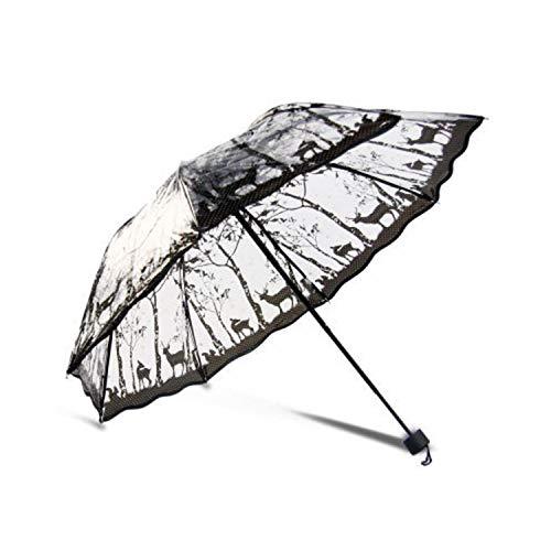 Paraguas transparente creativo grueso tres plegables anti-UV impermeable a prueba de viento paraguas