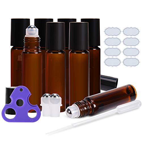 Roll on Bottles 10ml Amber Glass Empty Bottles 8 Piece ULG with Stainless Steel Roller Ball 2 Extra Balls 8 Piece Waterproof Labels 1 Opener and Dropper for Essential Oils