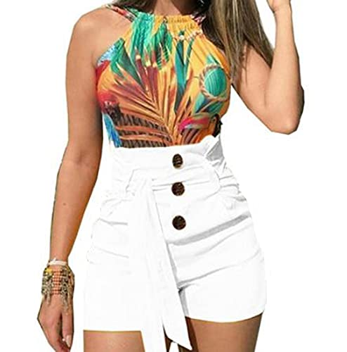 Pantalones Casuales De Cintura Alta De Verano para Mujer Pantalones Cortos con Cordones Y Botones Pantalones Anchos De Pierna De Color SóLido