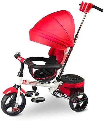 Faltbare Kind Dreirad Solid Reifen 3-in-1 für 6 Monate bis 6 Jahre alt Junge und mädchen Trolleys Sitz kann mit Markise drehen