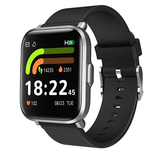 Smartwatch Uomo Donna Orologio Fitness tracker con Saturimetro Pressione Sanguigna Cardiofrequenzimetro Sonno 18 modalità sportive Contapassi Cronometro Calorie 5ATM Notifiche Messaggi per Android iOS