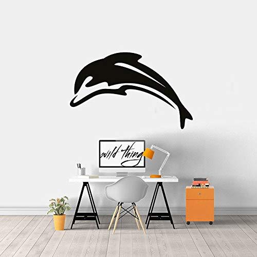 Pegatinas de pared de delfines amigables, sala de estar, dormitorio, decoración del hogar, pegatinas de vinilo para pared, calcomanía de silueta para portátil de coche