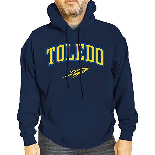Campus Colors NCAA Adult Arch & Logo Gameday Hooded Sweatshirt (Toledo Rockets - Navy, Adult Medium)