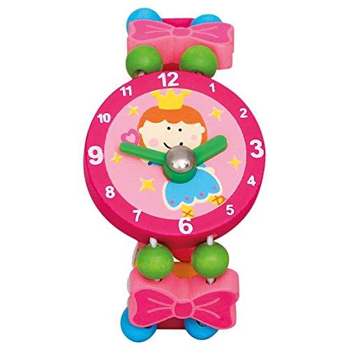Bino world of toys Holzuhr Fee, Lernuhr Kinder (Kinderspielzeug ab 3 Jahre, Kinderarmbanduhr Holz hochwertig verarbeitet, fördert Verständnis für Zahlen und Uhrzeit, Maße ca. 8 x 2,5 x 4 cm), Rosa