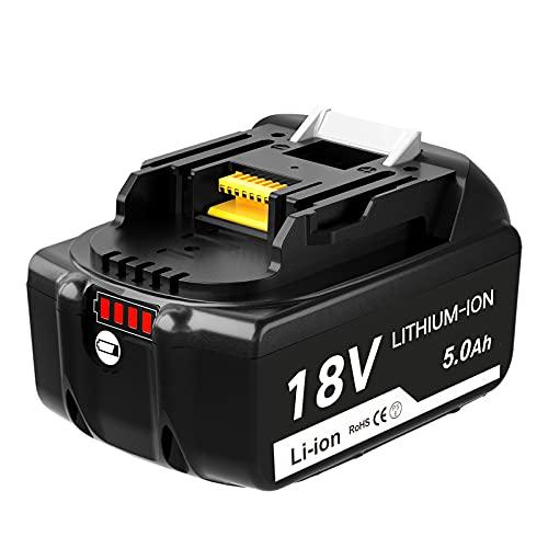 Topbatt BL1850B 18V 5.0Ah para Makita Batería de repuesto BL1850 BL1860 BL1840B BL1840 BL1830 BL1835 BL1845 BL1815 LXT-400 con indicador LED