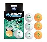 Donic-Schildkröt 608511 Pelota de Tenis de Mesa Elite 1 Estrella, Calidad Poly 40+, 6 Piezas en un Blister, Blanco / 3X Naranja