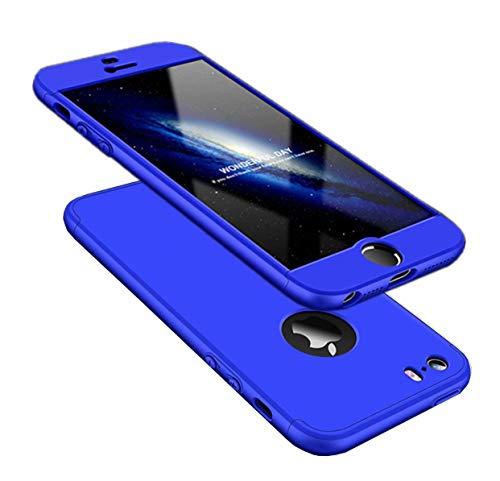 AILZH Coque iPhone 5/5S/SE Étui 360°Housse de Protection PC Hard Shell Anti-Choc Protection du Corps Entire 360 degrés Full-Cover Case Scratch Pare-Chocs Casque de Protection Matte 3 en 1(Bleu)