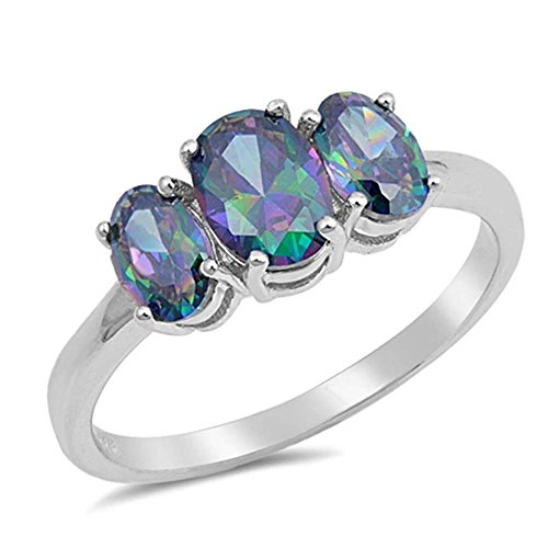 Oxford Diamond Co Sterling Silver 3 Stone Oval Shape Rainbow CZ Ring Size 5