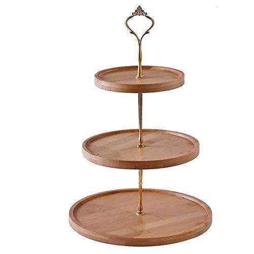 ZXvbyuff 3-Tier Bambus Etagere und Dessert Halter, Round Kuchen Baum, Stand-Tee-Party-Servierplatte, for Obst Käse angezeigte Snacks Hochzeit