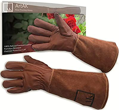 Leather Rose Pruning Gloves Gardening Thorn Proof Ladies and Men Rose Gloves | Extra Long Gardening Gloves Premium Cowhide Suede Protective Gauntlet Glove Breathable Thorn Resistant Goatskin
