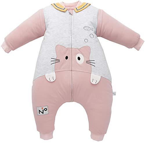 Chilsuessy Baby Schlafsack mit Füßen 3.5 Tog Winter Kinderschlafsack Jungen Babyschlafsack mit Beinen Mädchen,abnehmbar Langarm (Etikett 100/Baby Höhe 95-105cm, Rosa Katze)