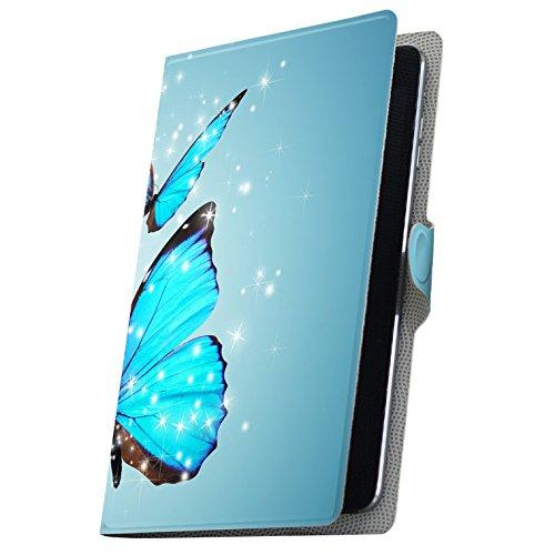 タブレット 手帳型 タブレットケース タブレットカバー カバー レザー ケース 手帳タイプ フリップ ダイアリー 二つ折り 革 蝶 青 写真 002820 MediaPad T3 7 Huawei ファーウェイ MediaPad T3 7 メディアパッド