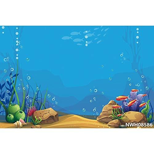 Fondos de Fiesta de Sirena bajo el Agua Castillo de mar Peces Coral Burbuja...