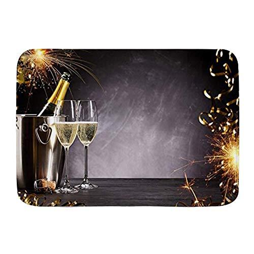 VINISATH Badematte,Frohes Neues Jahr Hufeisen Sekt Feuerwerk Champagner Wein Feier,rutschfest Waschbar Badezimmer Teppich Weiche Hochflor Badvorleger aus