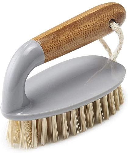 HJUK Tile Scrub Brush Iron Style mit natürlichem Bambusgriff, grau & natürlich, grau/Holz, 13 x 5 x 6,5 cm, grau/Holz, 2