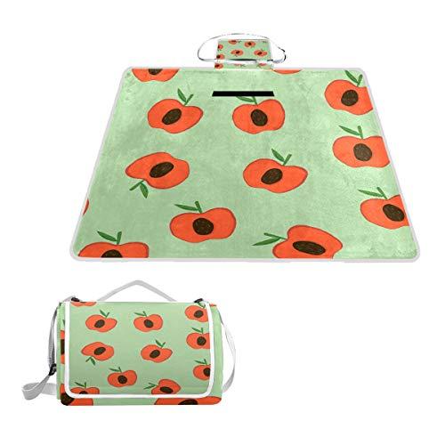LORONA Äpfel auf grünem Muster Picknickdecke Tragetasche Handliche Matte Mehltaubeständige und wasserdichte Campingmatte für Picknicks, Strände, Wandern, Reisen, Wohnmobile und Ausflüge