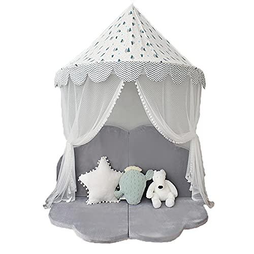 Blanco Tipi Tent con Luces LED de Estrella,Casas Infantiles de Bosque Nórdico Castillo Princesaspara Niños Pequeños Juegos de Interior y Exterior,145x145x250cm