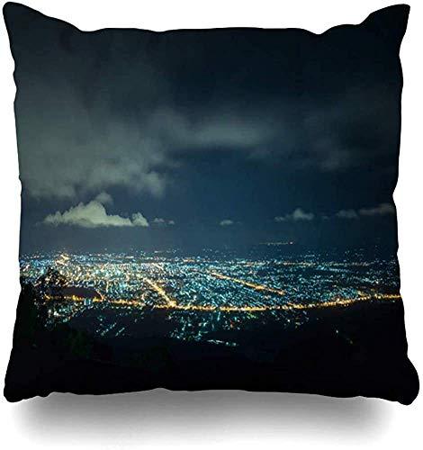 Doble Cojines Fundas 18' Anochecer Skyline City Night View Point On Top Parks Sky Cityscape Aerial Mountain Songkhla Funda de Almohada Suave para la Piel
