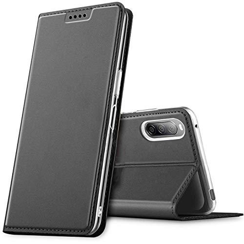 Verco Handyhülle für Sony Xperia 10 II, Premium Handy Flip Cover für Sony Xperia 10 2 Hülle [integr. Magnet] Book Hülle PU Leder Tasche, Schwarz