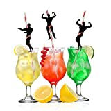 Bachelorette Party Naughty Straws - 24 PCS Stripper Dancing Men Confetti Straws for Hen Girls Night Out Decorations Bridal Shower Supplies