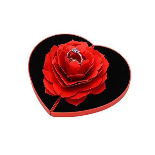 FiedFikt Caja de anillo de matrimonio con diseño de rosas románticas y giratorias, para decoración de bodas