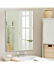 Quality Glass Premium Glass Frameless Decorative Mirror for Wall Bathrooms Home (Silver, 18 X 24 Inch)